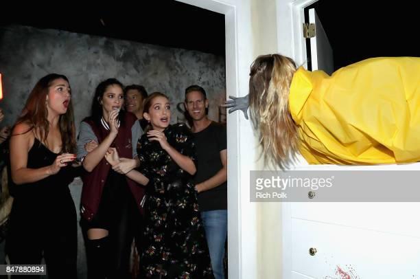 Rachel Matthews Ruby Modine Jessica Rothe and Christopher B Landon attend Halloween Horror Nights Opening Night Red Carpet at Universal Studios...