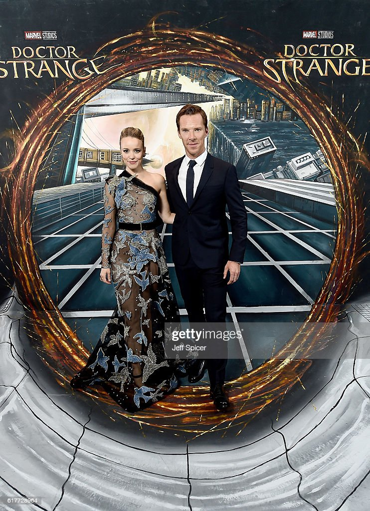 Rachel McAdams and Benedict Cumberbatch in front of the Doctor Strange inspired 3D Art at a fan screening, to celebrate the release of Marvel Studio's Doctor Strange at the Odeon Leicester Square, on October 24, 2016 in London, United Kingdom.