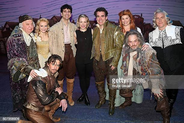 Rachel McAdams and Brian d'Arcy James pose with his cast backstage at the hit musical Something Rotten on Broadway at The St James Theatre on January...