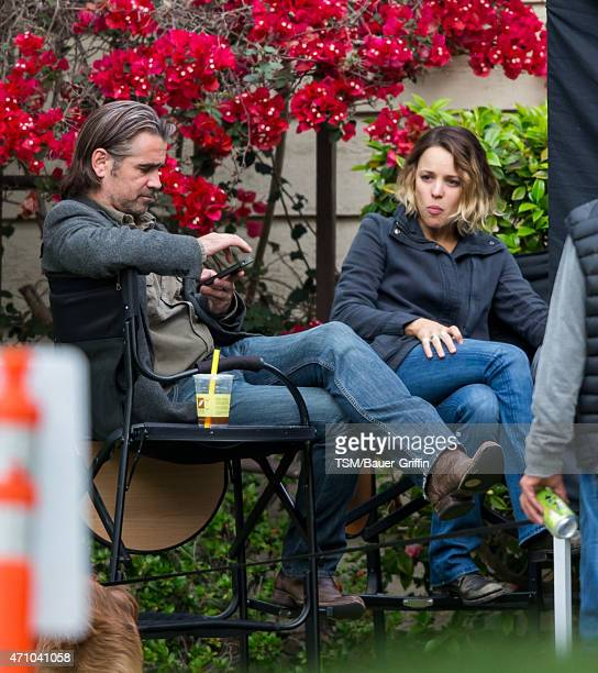 Rachel McAdams and Colin Farrell are seen on the set of 'True Detective' on April 24 2015 in Los Angeles California