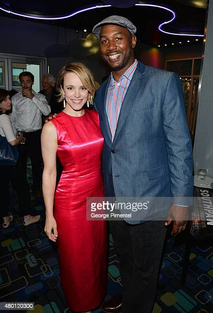 Rachel McAdams and Lennox Lewis attend the Canadian Premiere of 'Southpaw' at Scotiabank Theatre on July 9 2015 in Toronto Canada