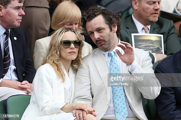 Rachel McAdams and Michael Sheen look on from the Royal Box on Centre Court ahead of the Ladies' Singles final match between Serena Williams of the...