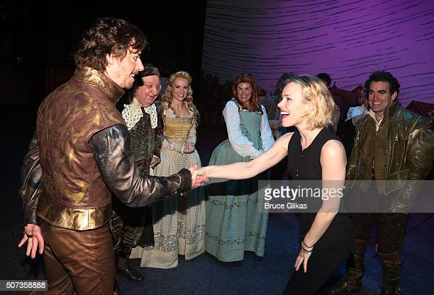 Rachel McAdams greets the cast backstage at the hit musical Something Rotten on Broadway at The St James Theatre on January 28 2016 in New York City