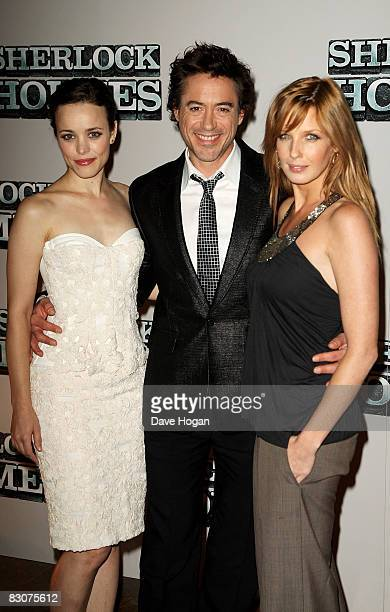 Rachel McAdams Robert Downey Jr and Kelly Reilly attend a preproduction press conference for 'Sherlock Holmes' at the Freemasons Hall on October 1...