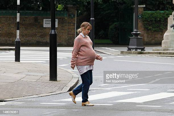 Rachel McAdams seen filming a scene for her new movie 'About Time' on the iconic Abbey Road crossing on July 8 2012 in London England