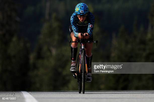 Rachel McBride of Canada competes during the Subaru Ironman Canada triathlon on July 30 2017 in Whistler Canada