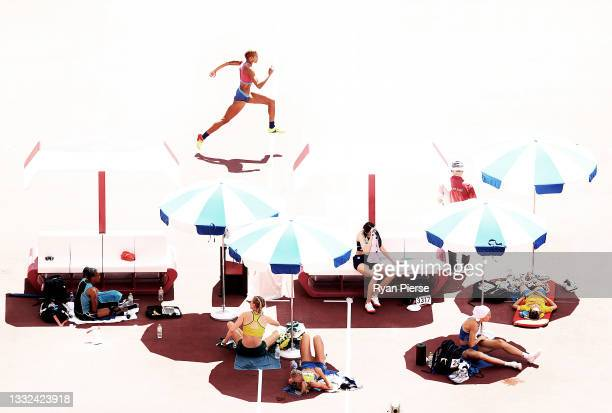 Rachel McCoy of Team United States competes in the Women's High Jump Qualification on day thirteen of the Tokyo 2020 Olympic Games at Olympic Stadium...