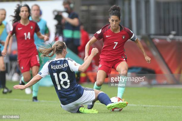 Rachel McLauchlan of Scotland women Claudia Neto of Portugal women during the UEFA WEURO 2017 Group D group stage match between Scotland and Portugal...