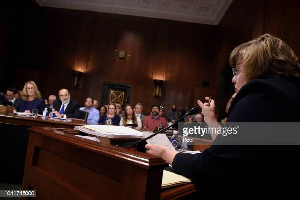 Rachel Mitchell a prosecutor from Arizona asks questions to Christine Blasey Ford before the US Senate Judiciary Committee in the Dirksen Senate...