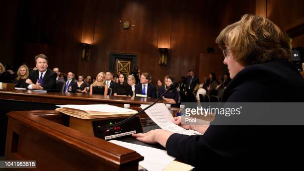 Rachel Mitchell a prosecutor from Arizona asks questions to Supreme Court nominee Judge Brett Kavanaugh a before the US Senate Judiciary Committee in...