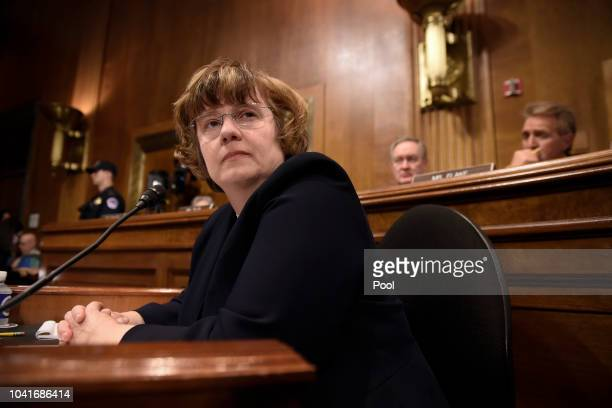 Rachel Mitchell a prosecutor from Arizona is seen prior to Christine Blasey Ford testifies before the US Senate Judiciary Committee in the Dirksen...
