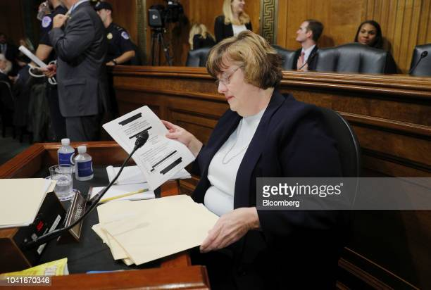 Rachel Mitchell a Republican prosecutor from Arizona arrives for a Senate Judiciary Committee hearing in Washington DC US on Thursday Sept 27 2018...