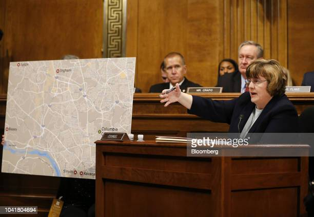 Rachel Mitchell a Republican prosecutor from Arizona questions Christine Blasey Ford not pictured during a Senate Judiciary Committee hearing in...