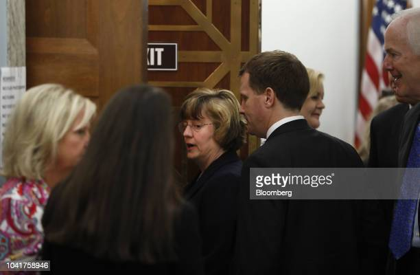 Rachel Mitchell a Republican prosecutor from Arizona stands outside the room during a break in a Senate Judiciary Committee hearing in Washington DC...