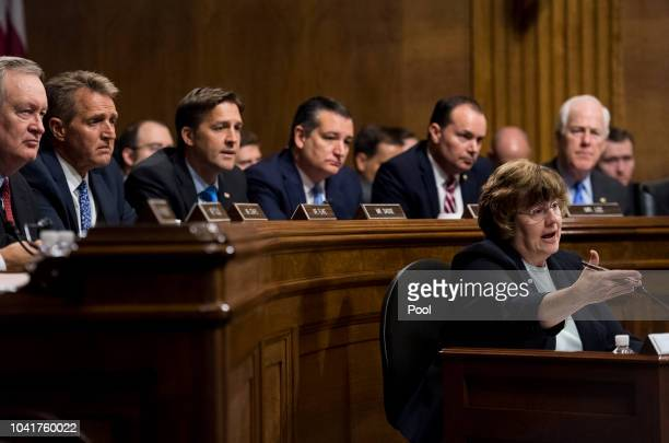 Rachel Mitchell counsel for Senate Judiciary Committee Republicans questions Dr Christine Blasey Ford as Senators from left Mike Crapo RIdaho Jeff...