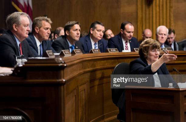 Rachel Mitchell counsel for Senate Judiciary Committee Republicans questions Dr Christine Blasey Ford as Senators from left Ben Sasse RNeb Ted Cruz...