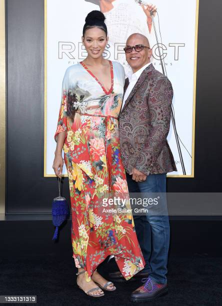 """Rachel Montez Minor and Rickey Minor attend the Los Angeles Premiere of MGM's """"Respect"""" at Regency Village Theatre on August 08, 2021 in Los Angeles,..."""