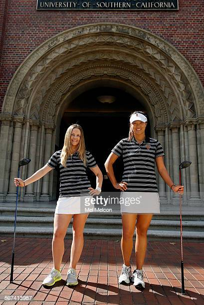 Rachel Morris left and Annie Park members of the women's golf team at USC and also excellent students are photographed on campus on March 28 2014