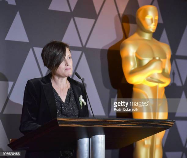 Rachel Morrison speaks onstage at The Oscars Foreign Language Film Award Directors Reception at the Academy of Motion Picture Arts and Sciences on...