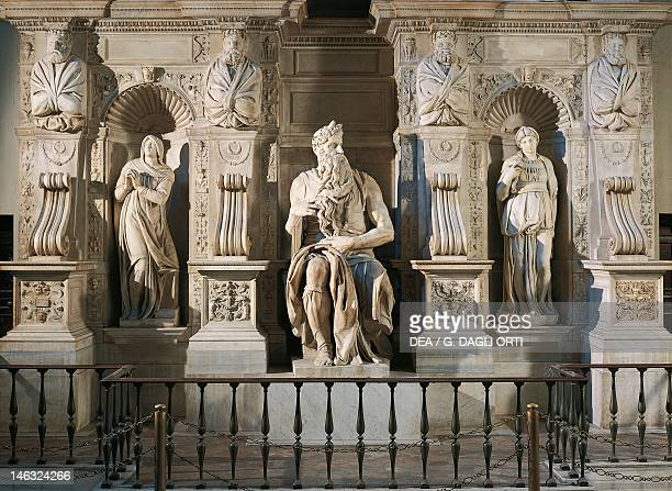 Rachel Moses and Leah detail from the tomb of Julius II ca 1515 by Michelangelo Basilica of St Peter in Chains in Rome Lazio