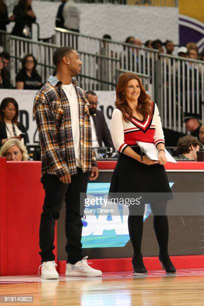 Rachel Nichols and Michael B Jordan coach during the NBA AllStar Celebrity Game presented by Ruffles as a part of 2018 NBA AllStar Weekend at the Los...