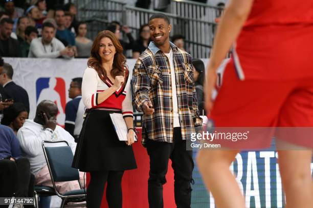Rachel Nichols and Michael BJordan coach during the NBA AllStar Celebrity Game presented by Ruffles as a part of 2018 NBA AllStar Weekend at the Los...