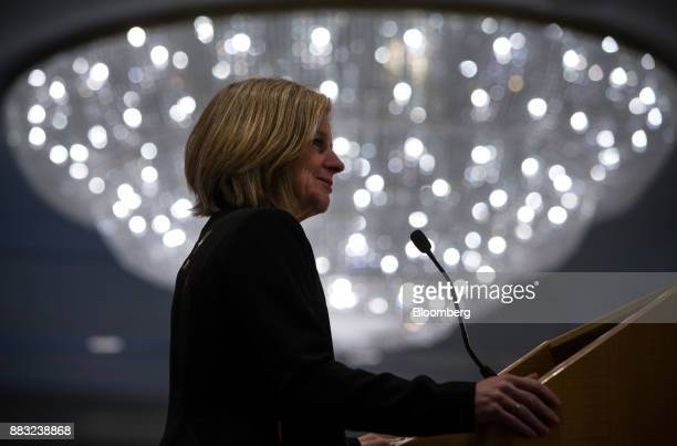 Rachel Notley Alberta's premier pauses while speaking during the Greater Vancouver Board of Trade's annual Energy Forum in Vancouver British Columbia...