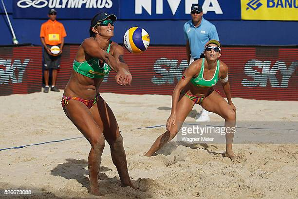Rachel Nunes and Angela Lavalle in action during main draw match against Brazil during the FIVB Fortaleza Open on Futuro Beach on April 30 2016 in...