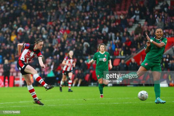 Rachel Panting of Southampton shoots at goal during the Women's FA Cup fourth round match between Southampton FC Women and Coventry United Ladies at...