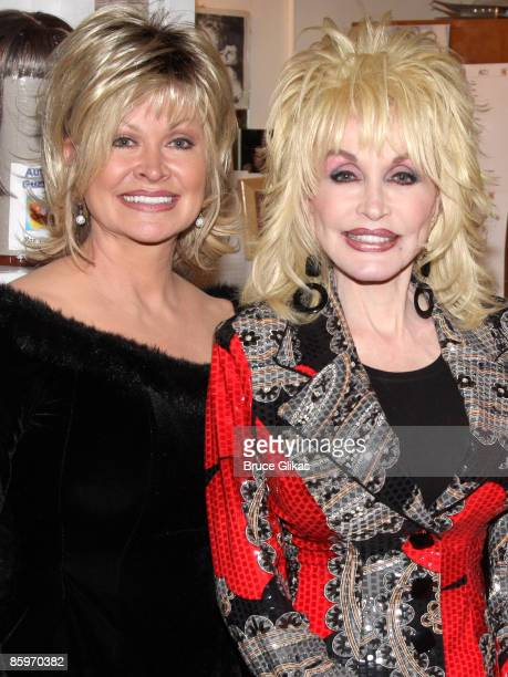 Rachel Parton Dennison and sister Dolly Parton pose backstage at the hit new musical 9 to 5 on Broadway at The Marquis Theatre on April 13 2009 in...