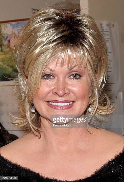 Rachel Parton Dennison poses backstage at the hit new musical 9 to 5 on Broadway at The Marquis Theatre on April 13 2009 in New York City