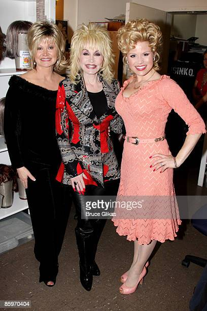 Rachel Parton Dennison sister Dolly Parton and Megan Hilty pose backstage at the hit new musical 9 to 5 on Broadway at The Marquis Theatre on April...