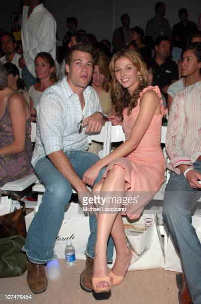 Rachel Perry and guest during Olympus Fashion Week Spring 2006 Esteban Cortazar at Bryant Park in New York City New York United States