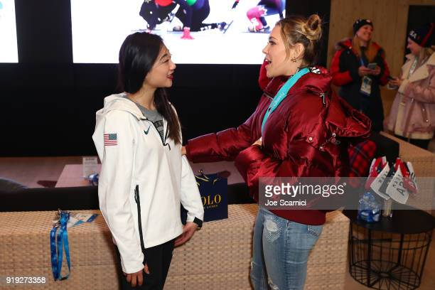 Rachel Platten and US Olympian Mirai Nagasu pose for a photo at the USA House at the PyeongChang 2018 Winter Olympic Games on February 17 2018 in...