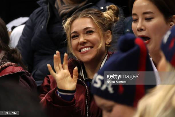 Rachel Platten attends the Men's Ice Hockey Preliminary Round Group B game between the United States and the Olympic Athletes from Russia on day...