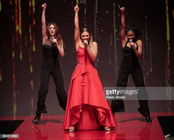 Rachel Platten performs on the runway during the American Heart Association's Go Red For Women Red Dress Collection February 2017 New York Fashion...