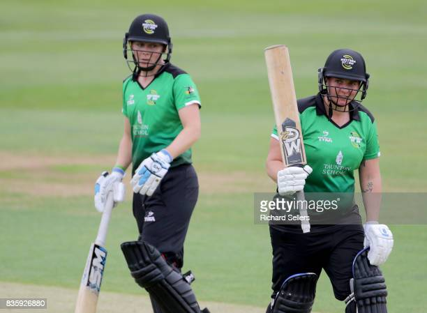 Rachel Priest and Heather Knight of Western Storm during the Kia Super League between Yorkshire Diamonds v Western Storm at York on August 20 2017 in...