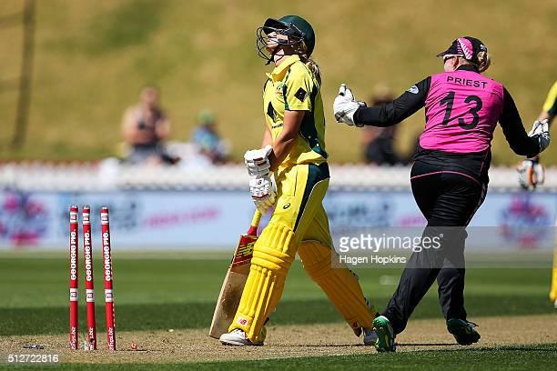 Rachel Priest of New Zealand celebrates the wicket of Meg Lanning of Australia during match one of the TransTasman Twenty20 Series at Basin Reserve...