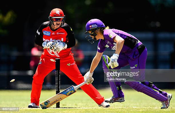 Rachel Priest of the Renegades appeals for the run out of Georgia Redmayne of the Hurricanesduring the WBBL match between the Hurricanes and the...