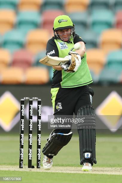 Rachel Priest of the Thunder bats during the Women's Big Bash League match between the Sydney Thunder and the Adelaide Strikers at Blundstone Arena...