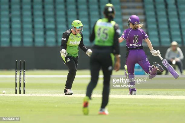 Rachel Priest of the Thunder celebrates the runout of Lauren Winfield of the Hurricanes by Harmanpreet Kaur of the Thunder during the Women's Big...