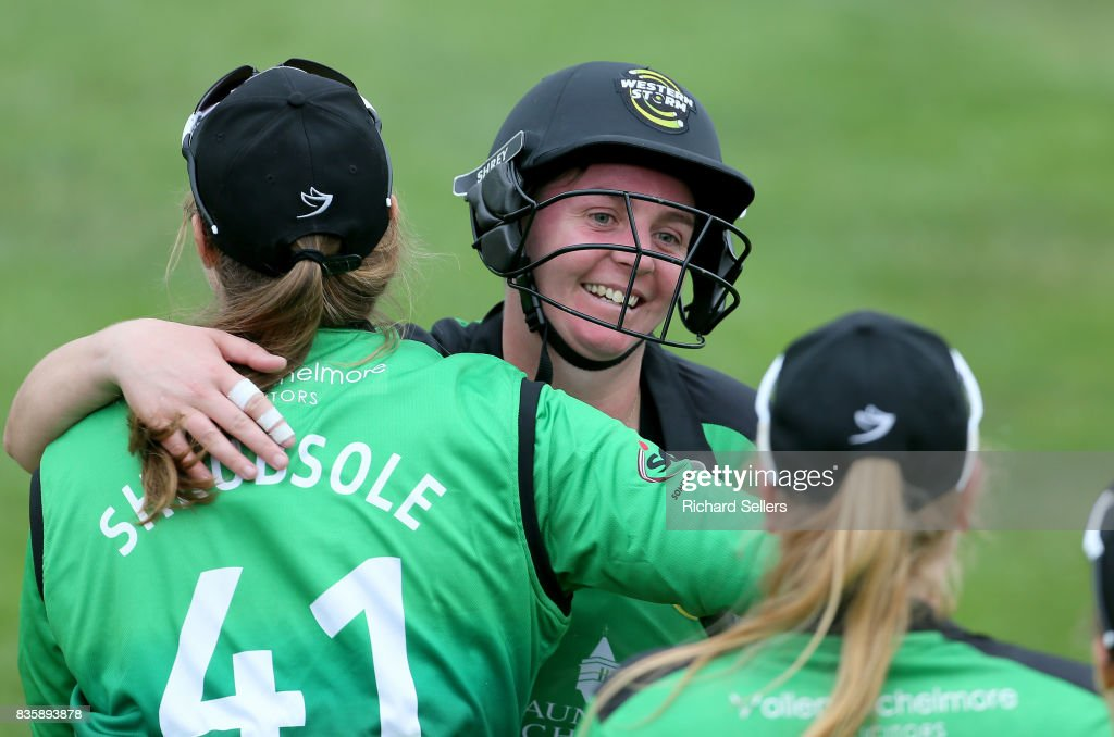 Rachel Priest of Western Storm and Anya Shrubsole celebrate after the Kia Super League between Yorkshire Diamonds v Western Storm at York on August 20, 2017 in York, England.