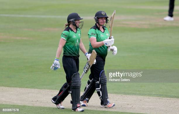 Rachel Priest of Western Storm and Heather Knight of Western Storm celebrate the win after the Kia Super League between Yorkshire Diamonds v Western...
