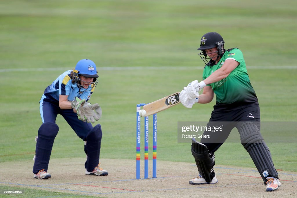 Rachel Priest of Western Storm on her way to her 100 during the Kia Super League between Yorkshire Diamonds v Western Storm at York on August 20, 2017 in York, England.