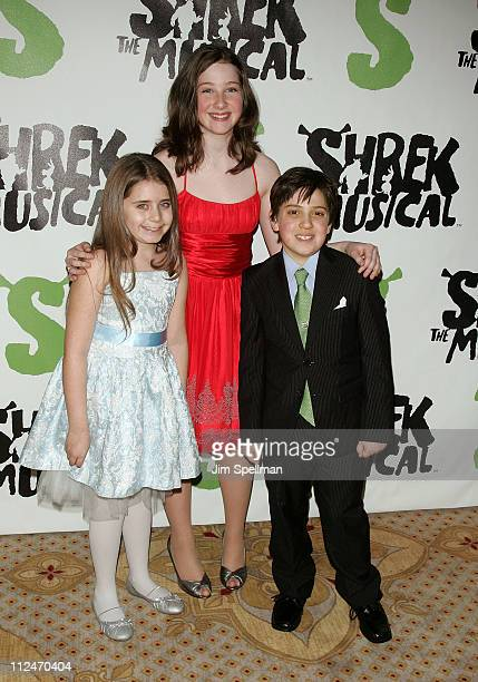 """Rachel Resheff, Marissa O'Donnel and Adam Reigler attends the opening night party for """"Shrek The Musical"""" on Broadway at the Plaza hotel on December..."""