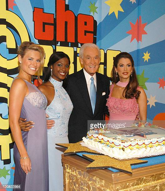 Rachel Reynolds Lanisha Cole Bob Barker and Brandi Sherwood at special daytime edition taping of 'The Price Is Right' to celebrate Bob Barker's 80th...