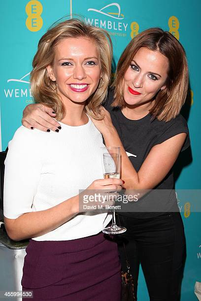 Rachel Riley and Caroline Flack at Hilton London Wembley to celebrate the next stage of the partnership between EE and Wembley Stadium on September...