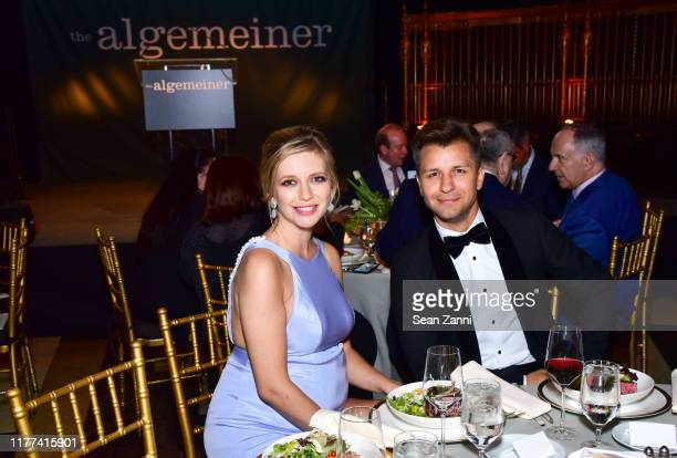 Rachel Riley and Pasha Kovalev attend Sir Ben Kingsley And Rachel Riley Honored By The Algemeiner At J100 Gala at Gotham Hall on September 26 2019 in...