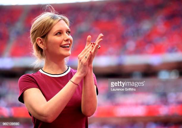 Rachel Riley applauds fans prior to The Emirates FA Cup Final between Chelsea and Manchester United at Wembley Stadium on May 19 2018 in London...