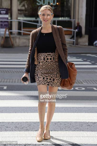 Rachel Riley arrives at the High Court for her libel case on May 11, 2021 in London, England.